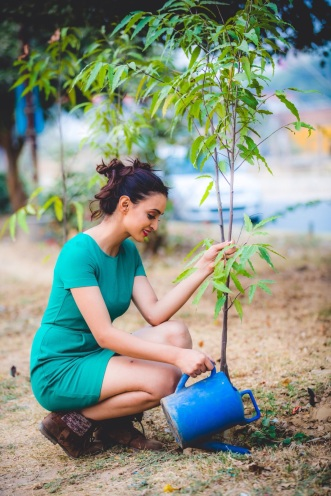 Miss Earth India, Aaital Khosla during tree plantation