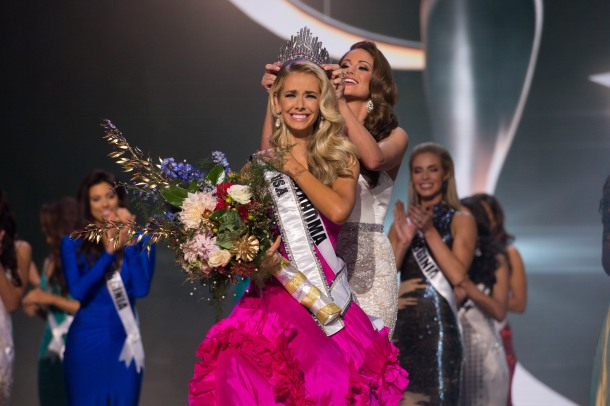 Olivia Jordan, Miss Oklahoma USA 2015, is crowned by Nia Sanchez, Miss USA 2014, as she is announced as the winner at the conclusion of the 2015 MISS USA pageant at the Baton Rouge River Center on Sunday, July 12th. She receives the title of Miss USA 2015 and the coveted D.I.C. Crown in Baton Rouge, Louisiana during the live Reelz telecast at 8:00 PM ET on July 12, 2015. HO/Miss Universe Organization L.P., LLLP