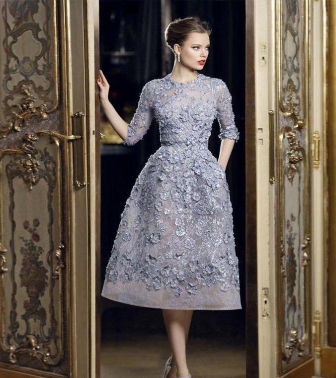 4 Long Sleeves Tea Length Party Dress
